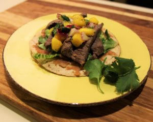 Baked Beef Tostada with Tropical Mango Salsa