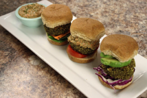 Vegan Black Bean Burgers with Roasted Red Pepper Sauce