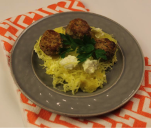 greek-spaghetti-squash-with-turkey-meatballs